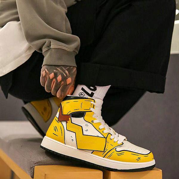 鬼滅之刃鞋子 2020新款 皮卡丘聯名空軍一號 高幫男鞋 潮鞋 黃色